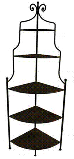 Pin etagere boulang re d angle en fer forg patin marron for Meuble d angle fer forge